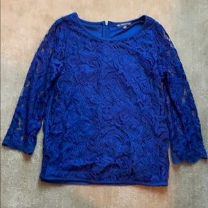 Blue Lace Adrianna Papell Blouse